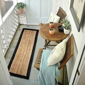 Runner Rug 100% Natural Jute Braided Style Reversible Rug Living Modern Area Rug