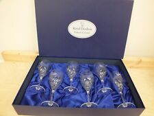 More details for royal doulton clear crystal wine glasses x 6 'juliette' design - boxed (hol)