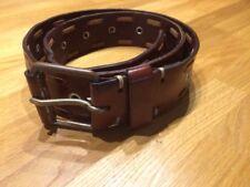 Ledergürtel Herren Belt Cowboy Cognac Braun 95 cm Echtleder Nieten