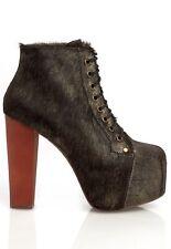 Jeffrey Campbell Lita Fur Black Brown Gold Chunky Platform Bootie Shoe Boot Sz 7