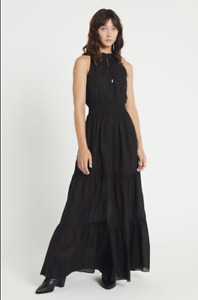 Aje Abby Tiered Pure Cotton Black Maxi Evangeline Banksia Long Dress Size 10