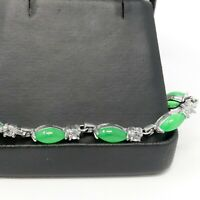Natural Oval Green Jade Gemstone Bead Bracelet Unisex Gift 925 Sterling Silver