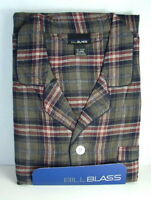 BILL BLASS Cotton Flannel PJs PAJAMAS Set Olive Plaid Mens size Large NWT  NEW
