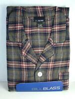 BILL BLASS Cotton Flannel PJs PAJAMAS Set Olive Plaid Mens size Large NWT  NEW