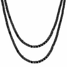 Black Tennis Link Necklace 3mm Mens Hip Hop Black Lab Diamonds Choker