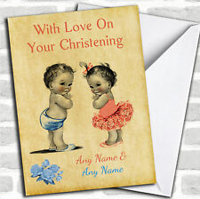 Twin Boy & Girl Personalized Christening Card