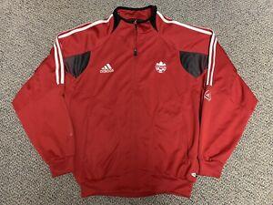 2003 2004 Canada Soccer Jacket Adidas Red Track Training Warm Up Large L Black