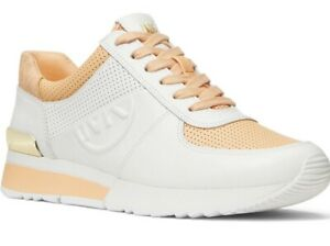 NIB Size 7 MICHAEL KORS Allie MK Charm Trainer Sneaker Cantaloupe Orange White