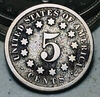 1869 Shield Nickel 5 Cents 5C Ungraded Civil War Era Good Details US Coin CC7018
