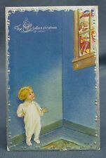 Antique Christmas Postcard Night Before Christmas Santa in Window Boy in Room