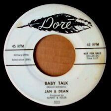 JAN & DEAN - BABY TALK b/w JEANETTE GET YOUR... - DORE 45 - WHITE LABEL PROMO