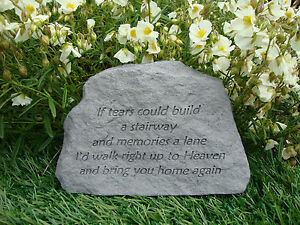 Family Memorial Garden Stone Plaque Grave Marker Ornament if tears could build..