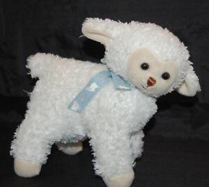 "White Lamb 9 x 7""  2000 Princess Soft Toys Blue Sheep Ribbon  Plush Stuffed  Toy"