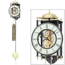 Reloj De Péndulo De Pared Mecánico Esqueleto Visto Metal Lacado AMS Nuevo