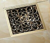 Antique Brass Art Carved Flower Bathroom Floor Waste Grate Shower Drain Drainer