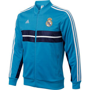 NEW! Mens Adidas REAL MADRID Anthem Soccer Track Top Jacket Shirt Spain Blue