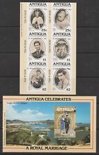 1981 Wedding Charles & Diana MNH Booklet Panes Opt Barbuda Surch S. Atlantic