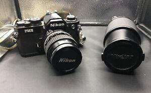 NIKON FM2 BLACK CAMERA WITH NIKKOR 55MM & VIVITAR 75-205MM LENS & CARRYING CASES