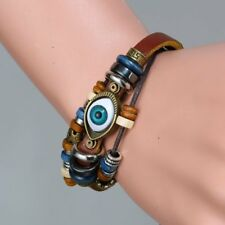 Unisex Handmade Punk Turkish Evil Eye Leather Adjustable Wristband Bracelet Gift