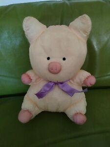 Sanrio Zashikibuta Vtg Pink Pig Plaid Bow Tie Nylon Plush Stuffed Animal Toy HTF