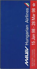 Malev Hungarian Airlines system timetable 1/15/98 [9021]