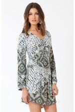 Hale Bob Sz M NWT Aster Printed Viscose Crepe Faux Wrap Long Sleeve Dress