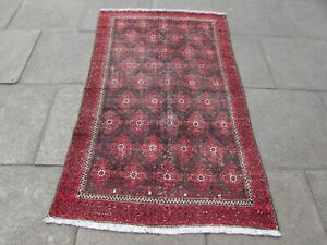 Shabby Chic Worn Vintage Hand Made Traditional Red Pink Wool Large Rug 181x108cm
