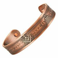 MasonicMan Masonic Mens Pure Copper Magnetic Therapy Adjustable Bracelet Bangle