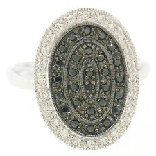 14k White Gold 0.50ctw 51 Round White & Black Diamond Tiered Oval Cocktail Ring