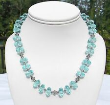 """AQUAMARINE FACETED BEADS AND STERLING NECKLACE, TOGGLE CLOSURE 18"""""""