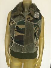 Wilson's Green Leather & Camo Maxima Vest With Faux Fur Collar MED NEW