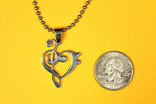 Treble Clef Bass Heart Music Pendant Stainless Steel FREE beaded chain necklace