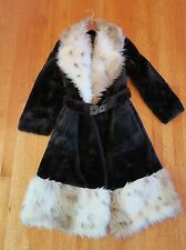 VINTAGE BLACK WHITE FAUX FUR Collar winter COAT Women's jacket w/ belt