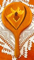 UNIQUE Vintage Wooden Hand Held VANITY MIRROR, Wall Rack, Iris Flower Marquetry