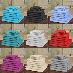 10 Piece Towel Bale Set Egyptian Cotton Bathroom Face Flannels Hand Bath Towels