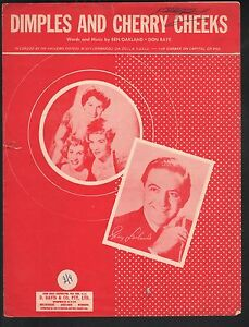 Dimples and Cherry Cheeks 1951 Andrews Sisters and Guy Lombardo Sheet Music