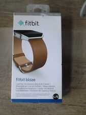 Genuine Fitbit Blaze Leather Accessory Band & Frame Camel Size L/G NEW F/S