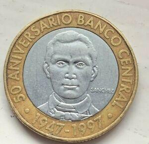 Dominican Republic 1997 5 Pesos Coin (#E81) Bi-Metallic, 50th Anniversary