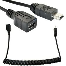 5Ft USB Mini 5P female to male plug extension Adapter Spiral Coiled Cable