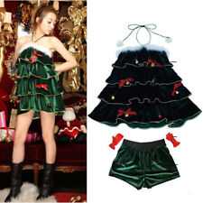 US!Women Sexy Christmas Strapless Halter Vintage Tiered Dress Shorts CosplaySuit