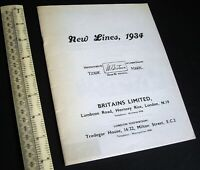 1934/1980s Britain's Ltd New Lines 1934 Catalogue. Facsimile.