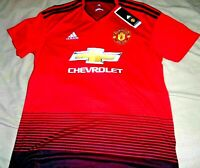 "MANCHESTER UNITED EMBROIDERED ""ADIDAS  CLIMALITE"" RED JERSEY MEN'S LARGE NEW $90"