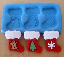 CHRISTMAS STOCKINGS SILICONE MOULD FOR CAKE TOPPERS CHOCOLATE ETC