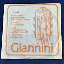 1986 Vintage Giannini Guitar String E6th Silver Wound White Nylon Made in Brazil