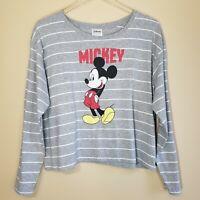 Disney Shirt Crop Striped Mickey Mouse Long Sleeve Gray Top XL