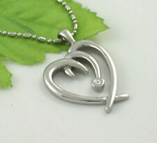 Stainless Steel CZ Love heart Costume Necklaces & Pendants