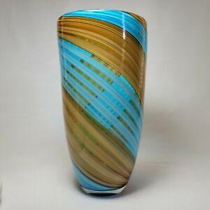 "Art Glass Vase Hand Blown Turquoise Gold Swirl Stripe 10"" Tall Decorative Modern"