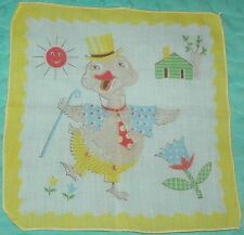 Vintage Duck Dressed Up and Dancing Childrens Novelty Hankie Handkerchief Yellow