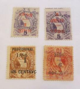 Guatemala 1886 -  1898 Quetzal bird small collection surcharges