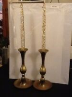 Lovely Vintage Brass Candlestick Holders With Lucite Acrylic Candlesticks
